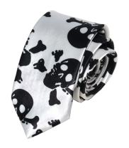 Men's Skinny Ties Novelty Mixed Skulls Pattern Printed Casual Halloween Neckties