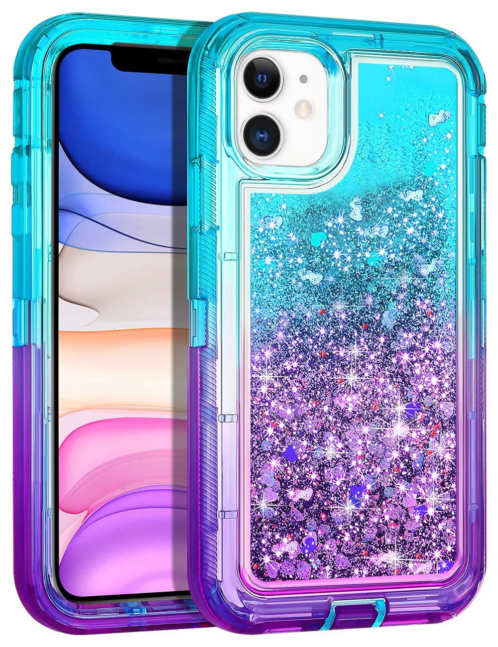 Wollony for iPhone 11 Case Glitter, Heavy Duty Girly Liquid Bling Quicksand 3 in 1 Hybrid Impact Resistant Shockproof Hard Bumper Soft Clear Rubber Protective Cover for iPhone 11 6.1inch Lake-Purple