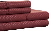 Brushed Microfiber Sheets Set- 4 Piece Hypoallergenic Bed Linens with Deep Pocket Fitted Sheet and Embossed Design by Lavish Home (Burgundy, Queen)