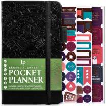 """Legend Planner Pocket - Small Monthly & Weekly Goal Journal and Calendar for Productivity, Mini Life Organizer Planner Perfect for Purse, Size: 3.5"""" x 6.2"""" Hardcover, Undated - Black"""