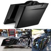 Advanblack Vivid/Glossy Black 4 1/2 inch Stretched Saddlebags Bottoms Extended Bags Fit for Harley Touring Road Glide Street Glide Electra Glide 2014 2015 2016 2017 2018 2019 2020