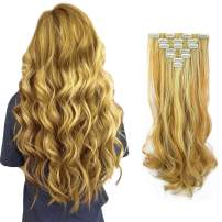 """FESHFEN 7 PCS Full Head Clip in Hair Extensions 20"""" Long Curly Synthetic Thick Hair Extension Wavy Hairpiece for Women"""