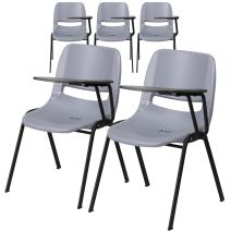 Flash Furniture 5 Pk. Gray Ergonomic Shell Chair with Left Handed Flip-Up Tablet Arm
