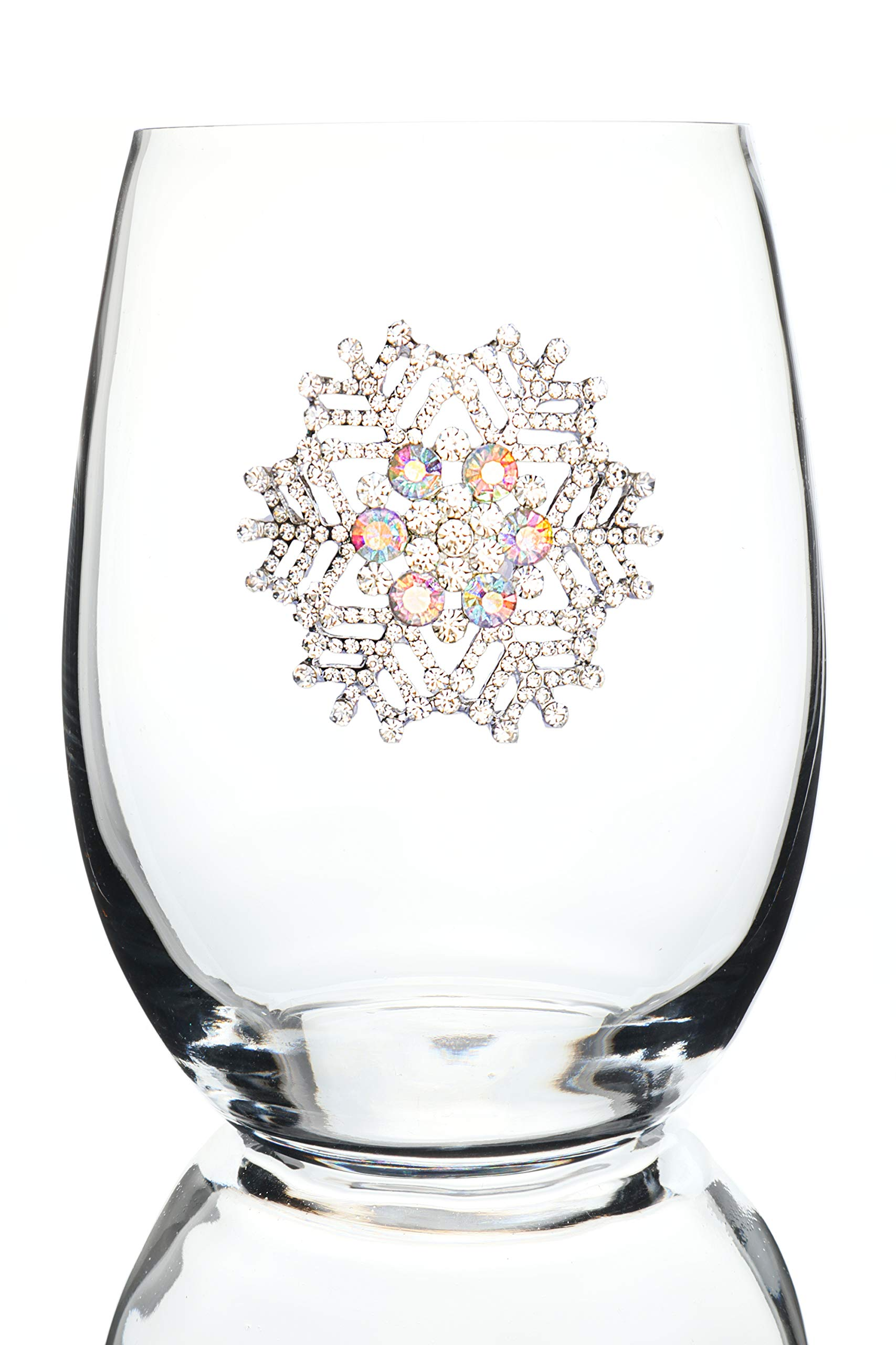 THE QUEENS' JEWELS Snowflake Jeweled Stemless Wine Glass - Unique Gift for Women, Birthday, Cute, Fun, Holiday, Not Painted, Decorated, Bling, Bedazzled, Rhinestone