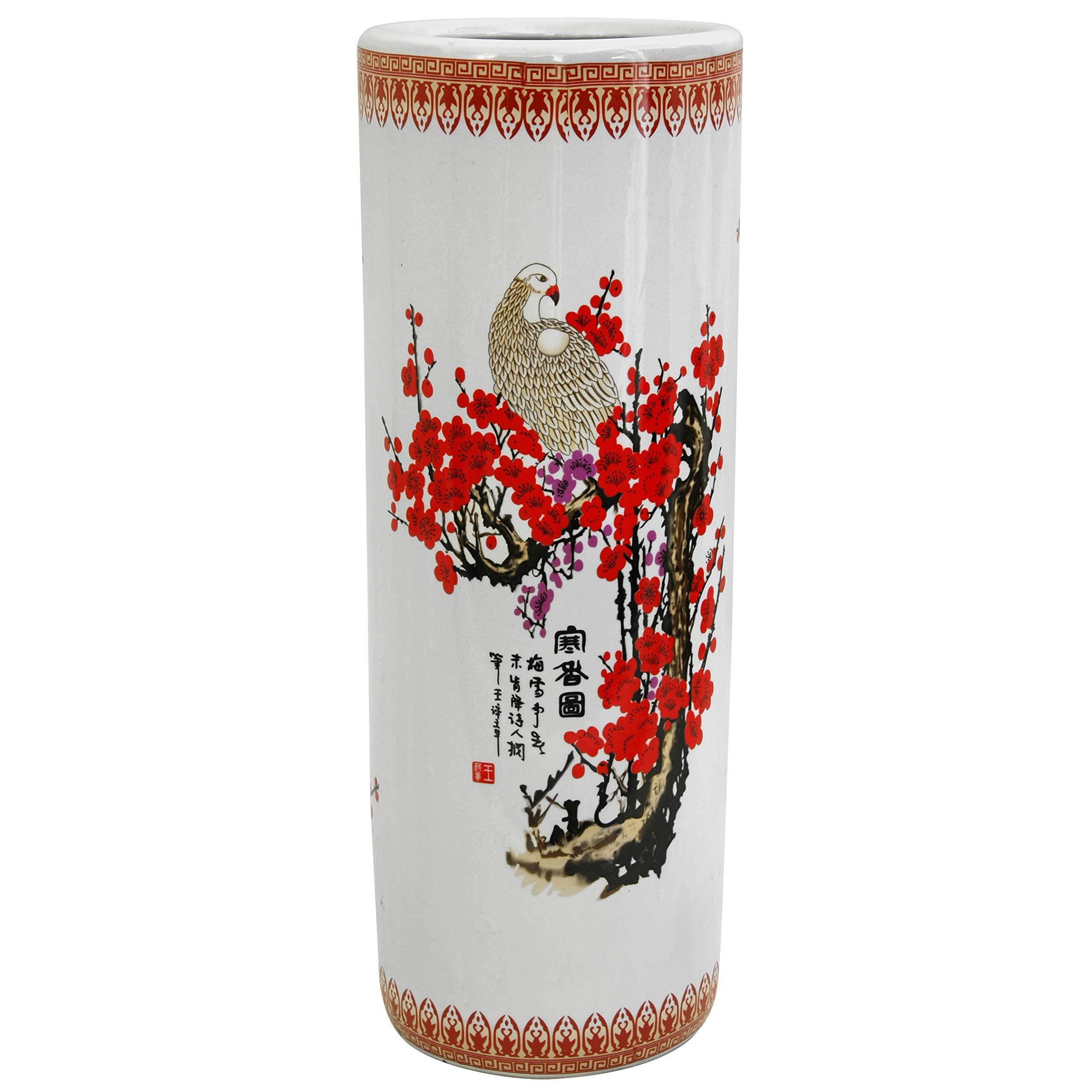 "Oriental Furniture 24"" Cherry Blossom Porcelain Umbrella Stand"