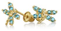 Tiny AAA CZ Dragonfly Butterfly Stud Earrings For Women 14K Real Gold Screwback Simulated Gemstone Birthstone Colors