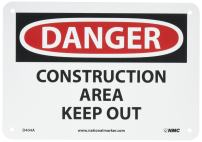NMC D248AB DANGER - CONSTRUCTION AREA KEEP OUT Sign - 10 in. x 7 in. Aluminum Danger Signage, Black/White Text on White/Red Base
