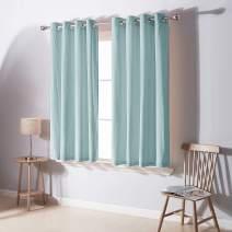 Deconovo Room Darkening Grommet Velvet Curtains for Kitchen Thermal Insulated Grommet Curtain Panels for Living Room 2 Panels Sky Blue 52W x 45L Inch