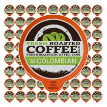 Fresh Roasted Coffee LLC, Swiss Water Half Caf Colombian Coffee Pods, Medium Roast, 72 Count