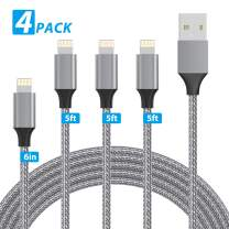 EASHION iPhone Charger, Lightning Cable 4Pack 6inch+5ft+5ft+5ft Nylon Braided iPhone Charger Cable for Charging and Syncing Compatible with iPhone 11/11 Pro/X/XS/XR/XS Max/8/8 Plus/7/7 Plus, Dark Grey