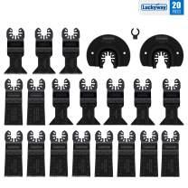 Luckyway 20-Piece Metal/Wood Oscillating Saw Blades Set for Quick Release Multitool, Blades Fit Dewalt Milwaukee Bosch Skil Craftsman Dremel Einhell Mastercraft Fein Ridgid Rockwell Worx and More