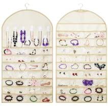 Ziz Home Hanging Jewelry Organizer, 64-Pockets & 11 Hooks / Loops Double-Sided Jewelry Storage Holder for Earrings, Necklaces, Hair Accessories, Wall or Closet Hanger, Modern Jewelry Box Alternative