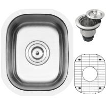 """12-3/4"""" Ticor S705 Haven Series 16-Gauge Undermount Single Bowl Stainless Steel Kitchen Bar Sink with Accessories"""