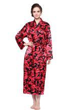 Lavenderi Women's Long Classic Satin Kimono Lounge Bathrobe Robe