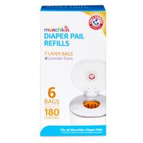 Munchkin Arm & Hammer Diaper Pail Snap with Seal and Toss Refill Bags, 6 Count