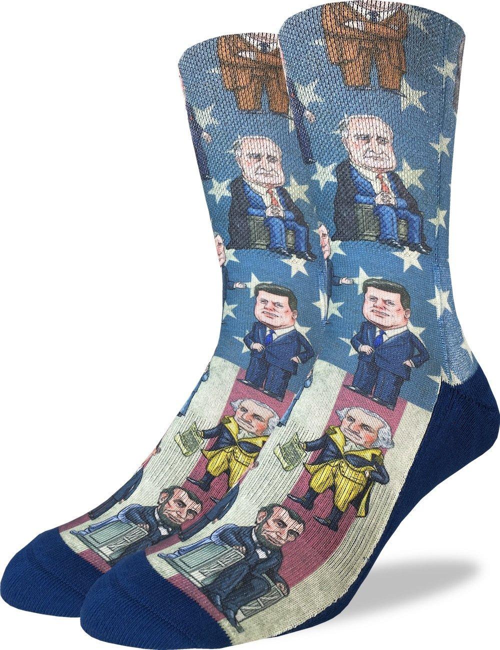 Good Luck Sock Men's Past Presidents of United States Crew Socks - Blue, Adult Shoe Size 8-13