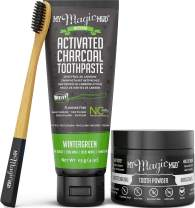 My Magic Mud - Activated Charcoal Teeth Whitening Kit, Toothpaste, Tooth Powder & Bamboo Toothbrush, Clinically Proven (Wintergreen)
