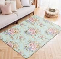 Area Rugs Spring Flowers Print Large Floor Mat Vintage Romance Carpet for Kids Yoga Living Room Home Decor Rugs 5' x 6.6'