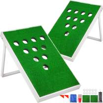 Happybuy Golf Cornhole Game Set 3/4/10 Holes Two Cornhole Boards Tailgate Golf Pong Portable Exciting Chip Game Golf Chipping Game Cornhole for Enthusiasts and Beginners