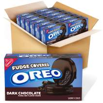 OREO Dark Chocolate Fudge Covered Sandwich Cookies, Dark Chocolate Flavored Creme, 12 Packs (9.9 oz.)