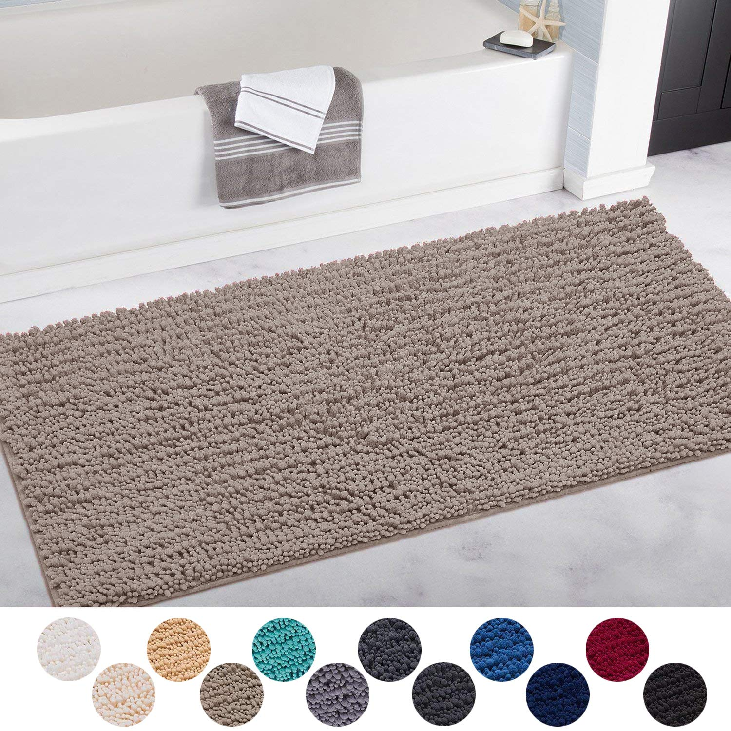 DEARTOWN Non-Slip Shaggy Bathroom Rug,Soft Microfibers Bath Mat with Water Absorbent, Machine Washable (31x59 Inches, Beige)