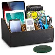 """LAMOTI Leather Desk Organizer with a 4"""" Coaster, Large Capacity 5 Compartments Desktop Unifier, Handcrafted (Black)"""