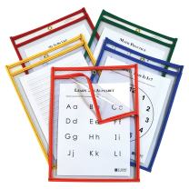 C-Line Super Heavyweight Plus Dry Erase Pockets, Assorted Primary Colors, 9 x 12 Inches Each, Box of 25 Dry Erase Pockets (42620)