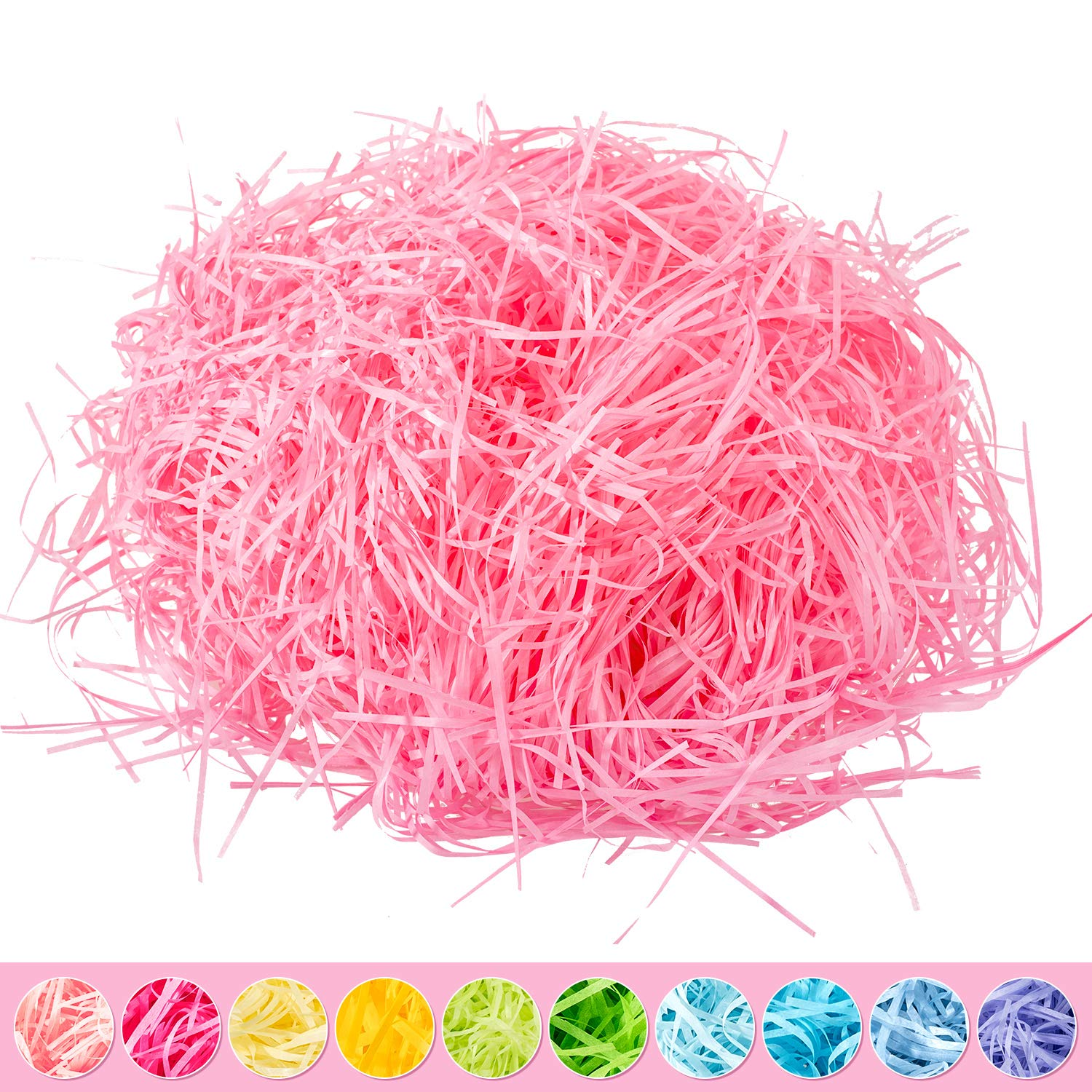 Whaline Easter Basket Grass Craft Shredded Tissue Raffia Gift Filler Paper Shreds for Baskets Egg Stuffers for Spring Party Supplies Accessories Decorations (Light Pink)