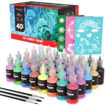3D Fabric Paint, Magicfly 40 Colors Permanent Textile Paint with 3 Brushes and Stencils, Permanent Fabric Paint with Fluorescent, Glow in The Dark, Glitter, Metallic Colors for Clothing, T-Shirt, Glas