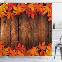 """Ambesonne Fall Shower Curtain, Dry Leaves Poured onto Wooden Board Cabin Cottage Rustic Country Life Theme Print, Cloth Fabric Bathroom Decor Set with Hooks, 75"""" Long, Brown Orange"""