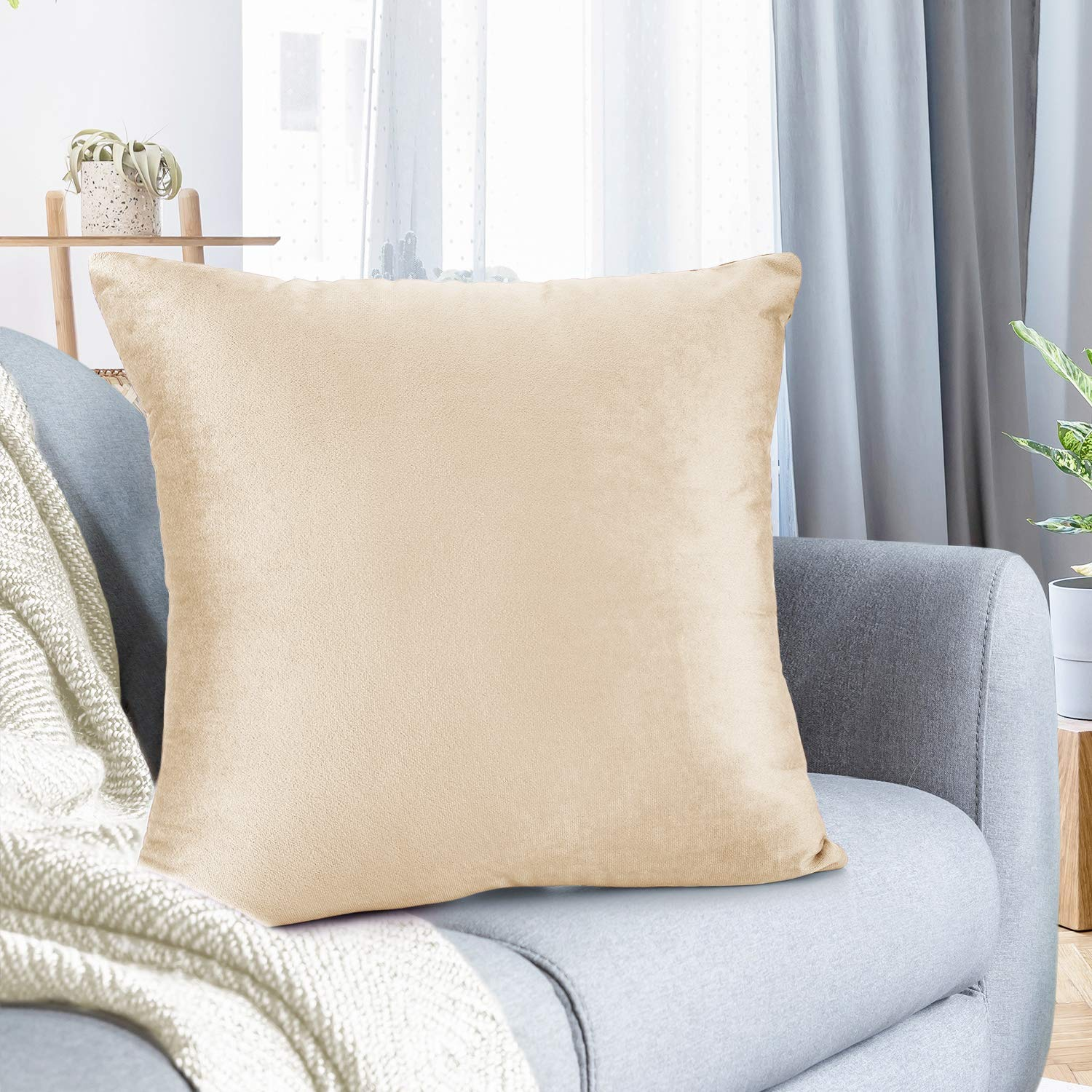 """Nestl Bedding Throw Pillow Cover 26"""" x 26"""" Soft Square Decorative Throw Pillow Covers Cozy Velvet Cushion Case for Sofa Couch Bedroom - Beige Cream"""