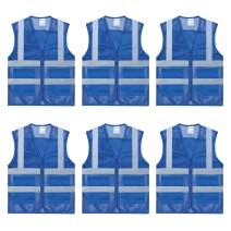 TOPTIE 6 PCS High Visibility Zipper Front Mesh Safety Vest With 2 Pockets, Volunteer Vest Wholesale-Blue-M