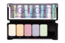 BYS Highlight 2 Makeup Palette with Contour Brush and Mirror - enhance complexion with the finest pearlescent powder five highly pigmented multidimensional shades offer rich color payoff glow