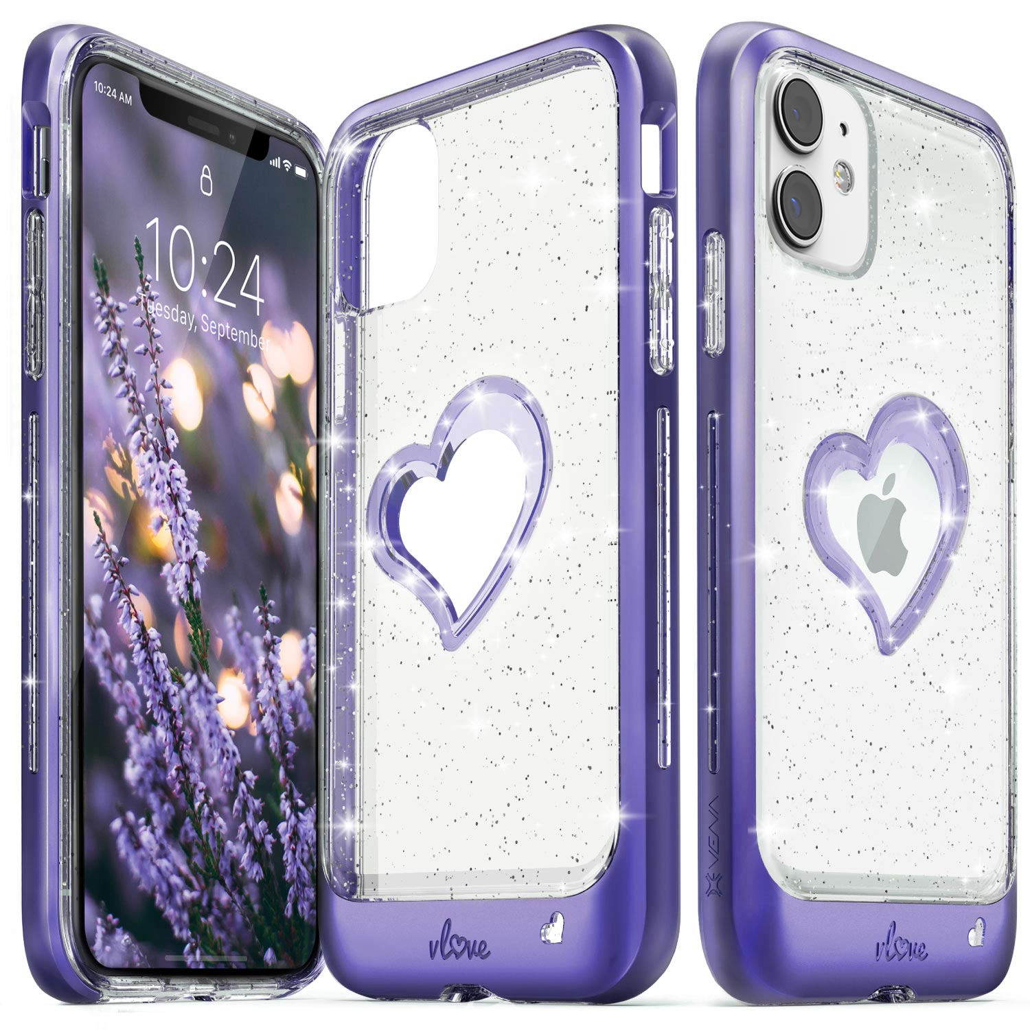 Vena iPhone 11 Glitter Case, vLove Glitter Heart Case Slim Dual Layer Protection Designed for iPhone 11 (6.1 inches) - Purple (PC) and Clear TPU with Glitter