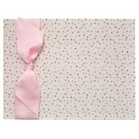 Tessera Baby Memory Book, Modern Baby Keepsake for Girls, Pink Dot Cloth with Pink Ribbon