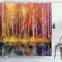 """Ambesonne Flower Shower Curtain, Fall Trees Along with Lake Fall in Jungle Natural Paradise Best Places in Earth, Cloth Fabric Bathroom Decor Set with Hooks, 75"""" Long, Grink Purple"""