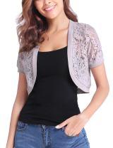 Aibrou Womens Short Sleeve Bolero Cardigans Lace Shrugs for Wedding Evening Dresses