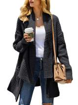 Misassy Womens Kimono Open Front Sweater Cardigan Loose Shawl Collared Long Sleeve Chunky Knit Outwear with Pockets