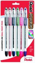 Pentel R.S.V.P. Ballpoint Pen, Medium Line, Assorted Ink, 6 Pack  (BK91BP6M)
