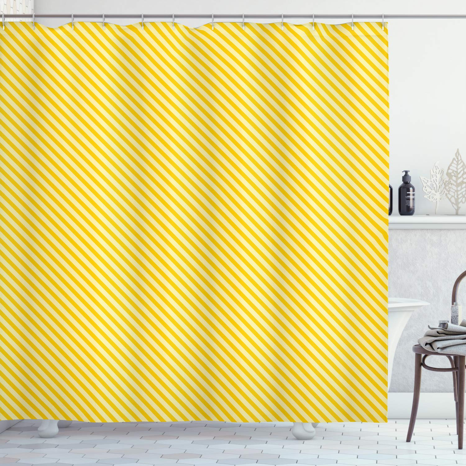 """Ambesonne Vintage Yellow Shower Curtain, Diagonally Striped Simplistic Geometric Pattern in Retro Style, Cloth Fabric Bathroom Decor Set with Hooks, 75"""" Long, Pale Yellow"""