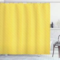 "Ambesonne Vintage Yellow Shower Curtain, Diagonally Striped Simplistic Geometric Pattern in Retro Style, Cloth Fabric Bathroom Decor Set with Hooks, 70"" Long, Pale Yellow"