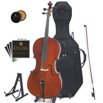Cecilio CCO-500 Ebony Fitted Flamed Solid Wood Cello with Hard & Soft Case, Stand, Bow, Rosin, Bridge and Extra Set of Strings, Size 1/2