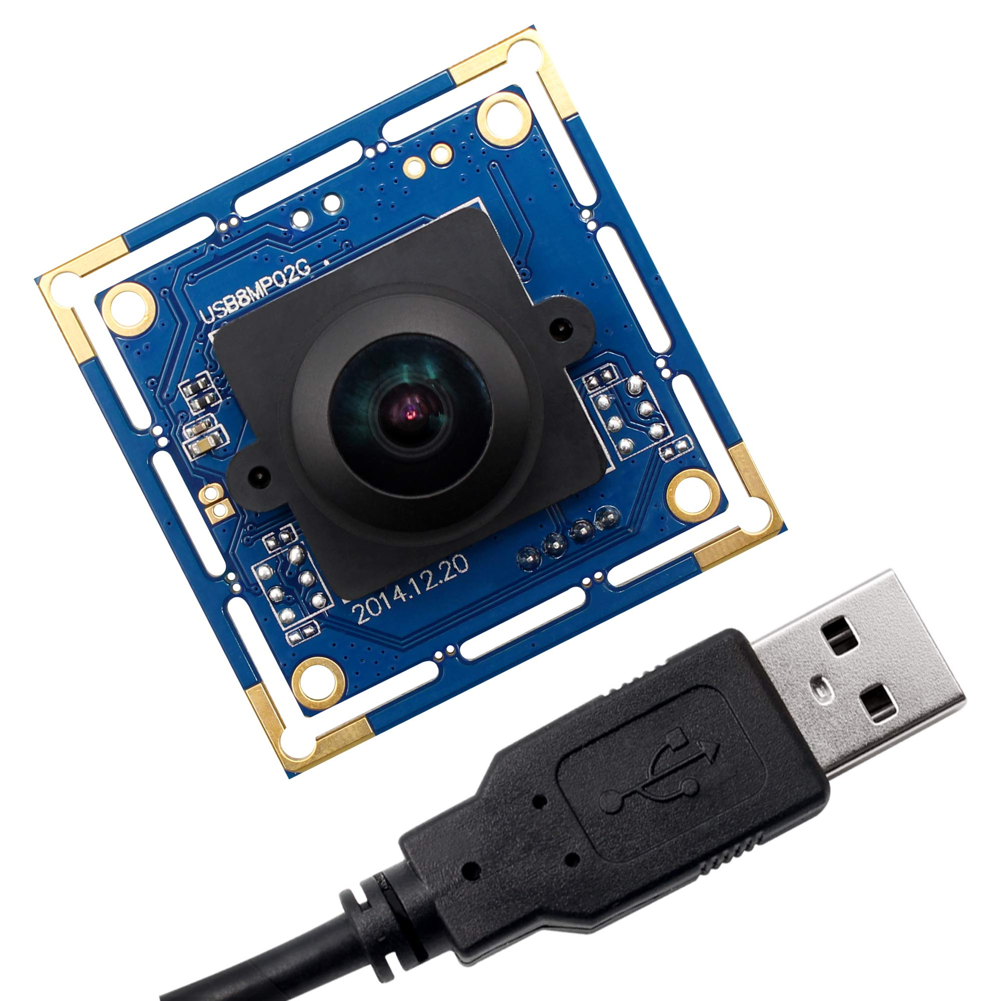 8 MP USB Camera Module with 180 Degree Fisheye Lens Webcam Super HD 3264X2448 Embeded USB Camera for Industrial,USB with Camera for Linux Windows Android Mini Web Cam Plug&Play OTG Supported Webcamera