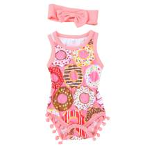 Xuuly Newborn Baby Girls Clothes Sleeveless Romper Colorful Doughnut Bodysuit Jumpsuit Headband Summer Outfit