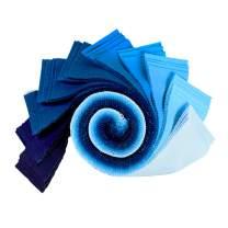 Robert Kaufman Kona Cotton 2.5'' Roll Ups 40 Piece Fabric, Waterfall