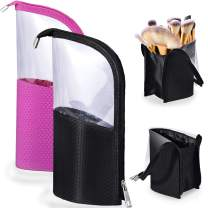 Travel Make-up Brush Cup Holder Organizer Bag, Pencil Pen Case for Desk, Clear Plastic Cosmetic Zipper Pouch, Portable Waterproof Dust-Free Stand-Up Small Toiletry Stationery Bag Divider, Black+Rhodo