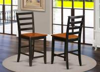 East West Furniture FAS-BLK-W Stool counter height chair-Wooden Seat and Black Hardwood Structure counter height chairs set of 2