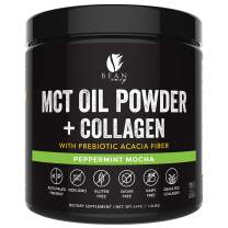 MCT Oil Powder + Collagen + Prebiotic Acacia Fiber - 100% Pure MCT's - Perfect for Keto - Energy Boost - Nutrient Absorption - Appetite Control - Healthy Gut Support - Peppermint Mocha