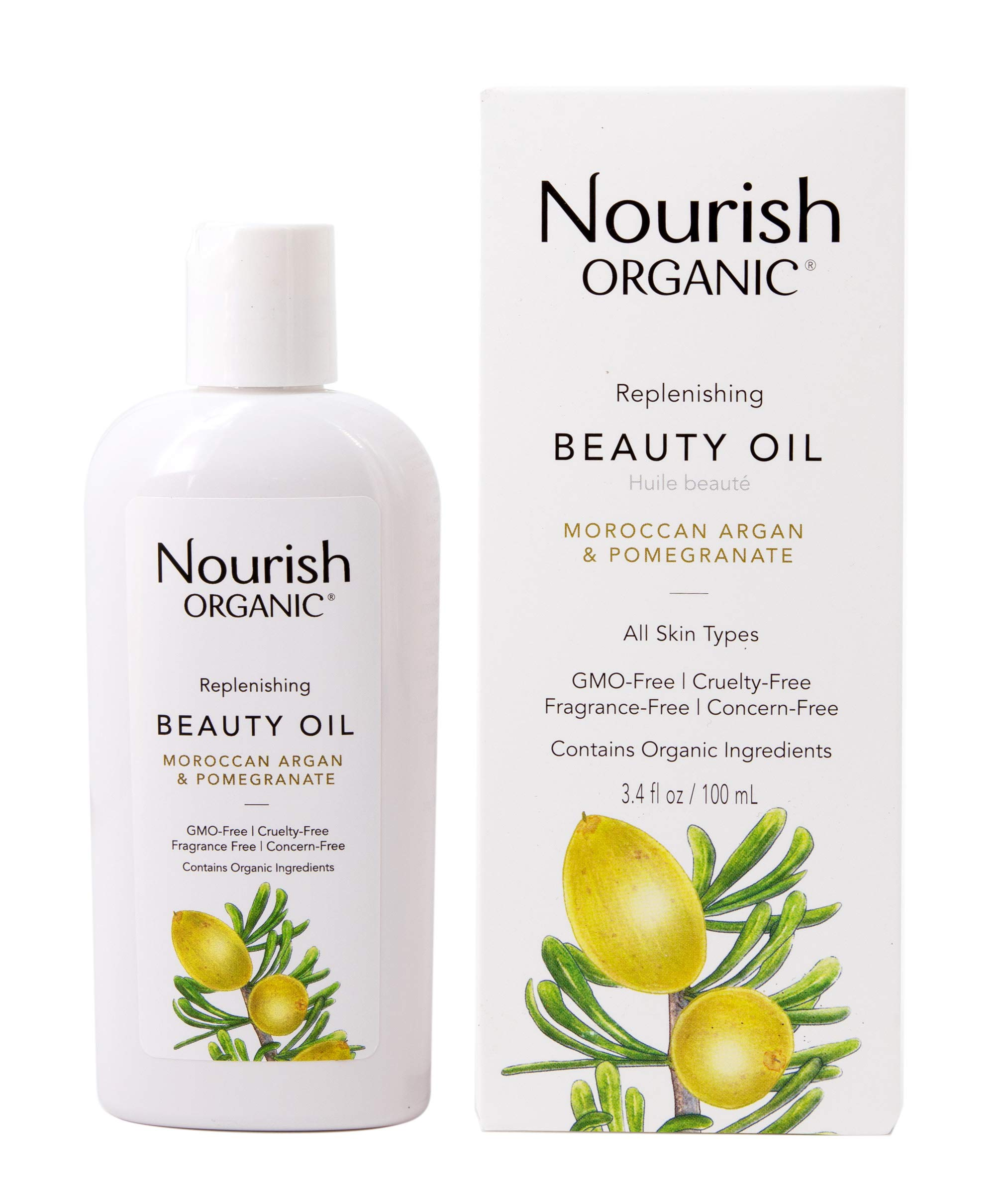 Nourish Organic Replenishing Beauty Oil, For Body, Face and Hair with Pomegranate and Moroccan Argan, 3.4 Ounce