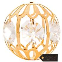 "Matashi 24K Gold Plated Crystal Studded Gold Christmas 1.5"" Ball Hanging Ornament, Luxury Rich Decorations Tree Balls for Holiday Wedding Party Decoration, Gift Boxed with Storage Pouch"